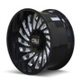Cali Offroad Switchback 9108 Gloss Black/Milled Spokes 24x12 5x150 -51mm 110mm- side view