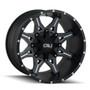 Cali Offroad Obnoxious 9107 Satin Black/Milled Spokes 20x9 6x120/6x5.50 0mm 78.10mm - front view