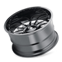 Cali Offroad Summit Gloss Black/Milled Spokes 20x10 8x170 -25mm 125.2mm - tilted view