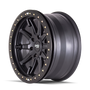 Dirty Life DT2 Matte Black w/ Simulated Beadlock Ring 20x9 6x139.7 12mm 106mm - side view