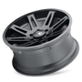 ION 142 Matte Black 17x9 5x127 -12mm 78.1mm - tilted wheel view