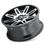 ION 142 Black w/ Machined Face 20x9 8x165.1 18mm 130.8mm - tilted wheel view