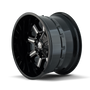 Mayhem Combat Gloss Black/Milled Spokes 17X9 6x135/6x139.7 -12mm 106mm - wheel side view