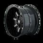 Mayhem Combat Gloss Black/Milled Spokes 17X9 5x127/5x139.7 18mm 87mm - wheel side view