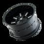 Mayhem Combat Gloss Black/Milled Spokes 17X9 5x127/5x139.7 18mm 87mm - wheel tilted view