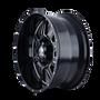 Mayhem 8100 Monstir Gloss Black/Milled Spokes 17X9 5x127/5x139.7 -12mm 87mm - wheel side view