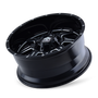 Mayhem 8100 Monstir Gloss Black/Milled Spokes 17X9 5x114.3/5x127 -12mm 87mm - wheel tilted view