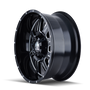 Mayhem 8100 Monstir Gloss Black/Milled Spokes 18x9 5x150/5x139.7 -12mm 110mm - wheel side view