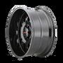 Mayhem Tripwire Black w/ Prism Red 20x9 6x139.7 18mm 106mm - wheel side view
