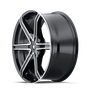 Mazzi 371 Stilts Black w/ Machined Face 20x8.5 5x108/5x114.3 35mm 72.6mm - wheel side view