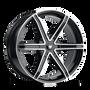 Mazzi 371 Stilts Black w/ Machined Face 24x9.5 5x115/5x120 18mm 74.1mm