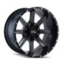 Cali Off-road Busted Satin Black/Milled Spokes 22X12 6-135/6-139.7 -44mm 108.0mm