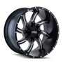 Cali Offroad Twisted Satin Black/Milled Spokes 22X12 8-180 -44mm 124.1mm