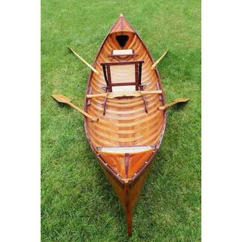 """39.5"""" x 190"""" x 25.5"""" Traditional Wooden Canoe With Ribs"""