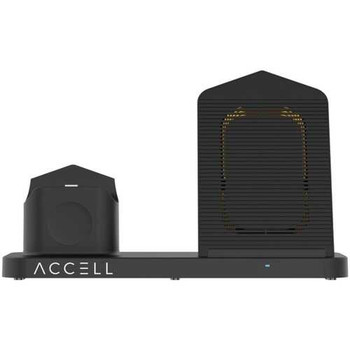 Accell D233B-001B 3-in-1 Fast-Wireless Wireless Charging Station for iPhone, Android Smartphones, A