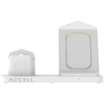 Accell D233B-001F 3-in-1 Fast-Wireless Wireless Charging Station for iPhone, Android Smartphones, A