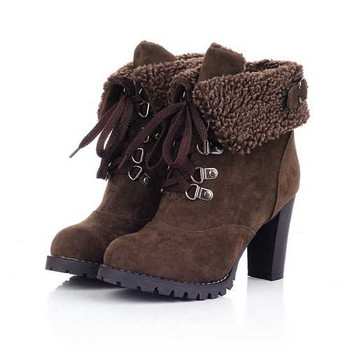 Big Size Women Thick Heel Ankle Boots Heels Lace Up Short Boots