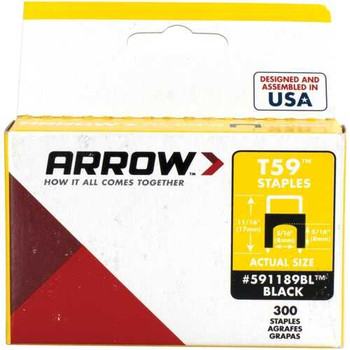 Arrow 591189BL T59 Insulated Staples, 300 Pack (Black)