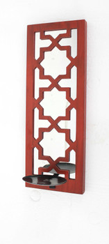 """17"""" x 5"""" x 6"""" Red, Wooden Cross - Candle Holder Sconce"""