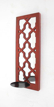 """17"""" x 5"""" x 6"""" Red, Mirrored - Candle Holder Sconce"""