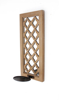 """6"""" x 7.5"""" x 17"""" Tan, Wooden Cross - Candle Holder Sconce"""