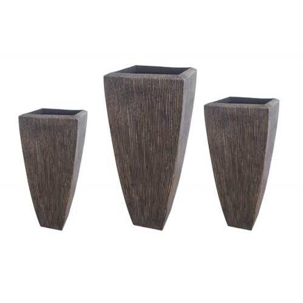 Tall Distressed Brown Sandstone Ribbed Planter