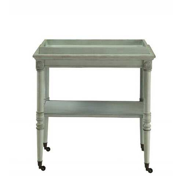 """30"""" X 18"""" X 32"""" Antique Green Mdf Tray Table"""