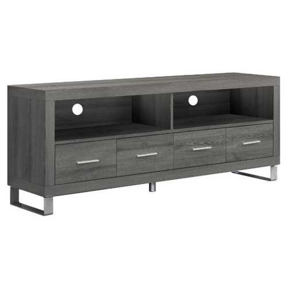 """15.75"""" x 60"""" x 23.75"""" Dark Taupe Silver Particle Board Hollow Core Metal TV Stand With 4 Drawers"""