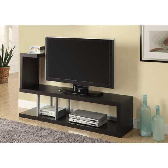 """35.25"""" Cappuccino Particle Board Hollow Core and Silver Metal TV Stand"""