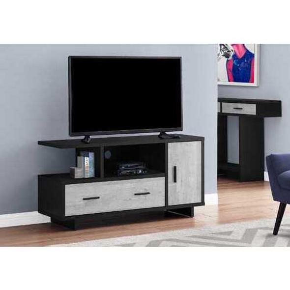 """23.75"""" Black and Grey Particle Board Laminate and MDF TV Stand with Storage"""