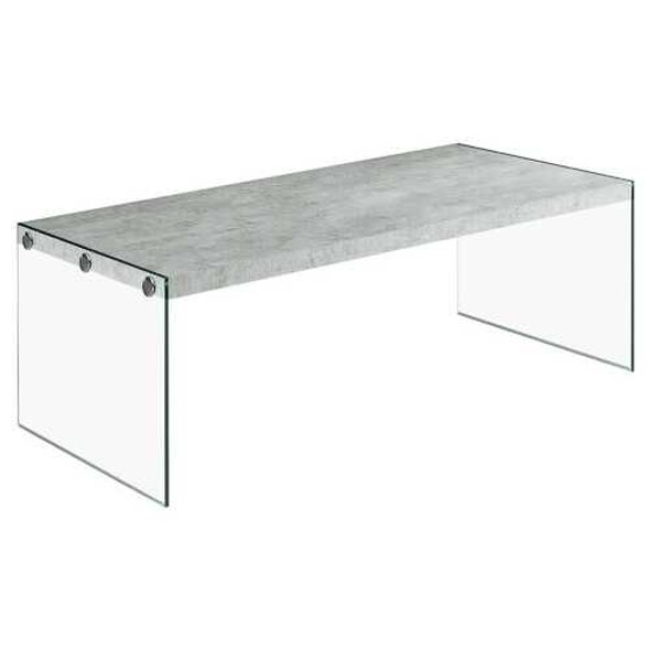 """22"""" x 44"""" x 16"""" Grey Cement  Tempered Glass  Coffee Table"""