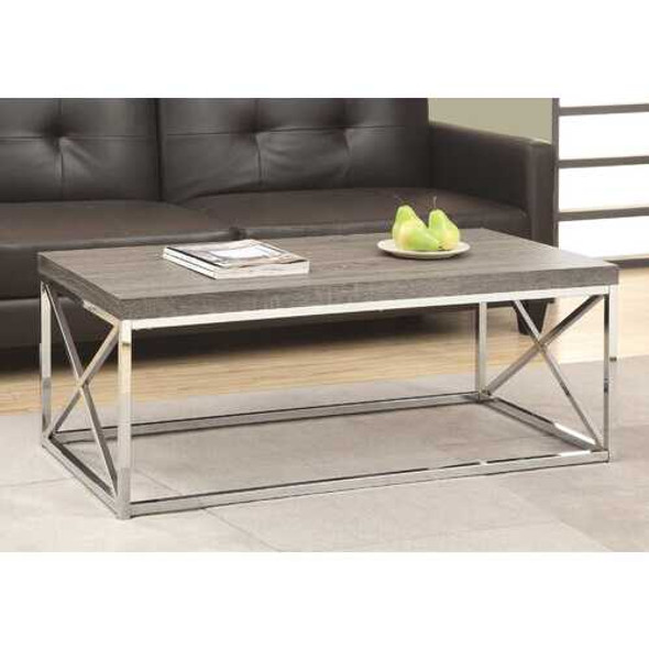 X Trestle Dark Taupe and Chrome Coffee Table