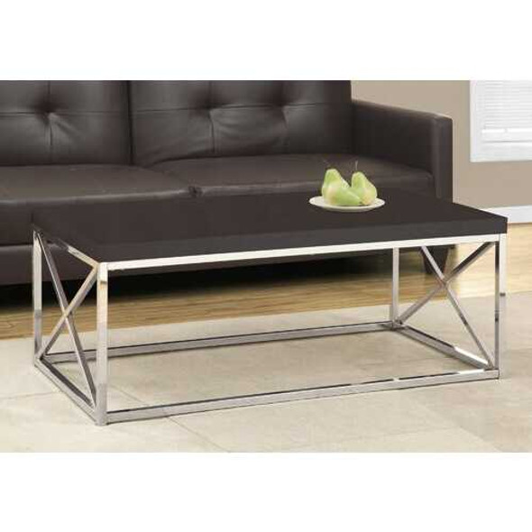 X Trestle Cappuccino and Chrome Coffee Table