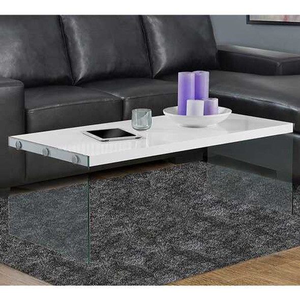 """22"""" x 44"""" x 16.25"""" White Clear Particle Board Tempered Glass Coffee Table"""