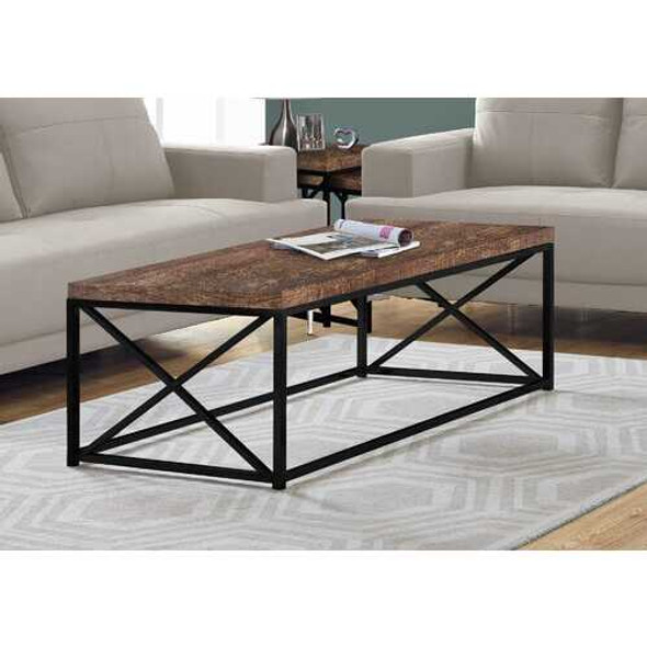 """17"""" Reclaimed Wood Particle Board and Black Metal Coffee Table"""