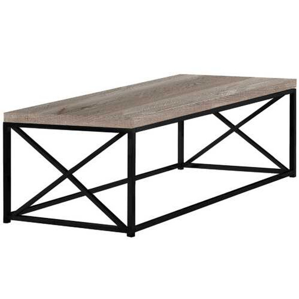 """22"""" x 44"""" x 17"""" Taupe  Black  Particle Board  Metal  Coffee Table"""