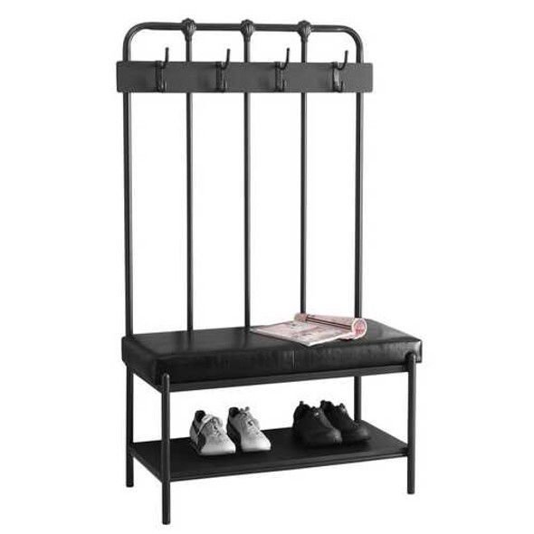 """17.75"""" x 37.75"""" x 60.5"""" Charcoal Metal Foam Leather Look  Hall Entry Bench"""