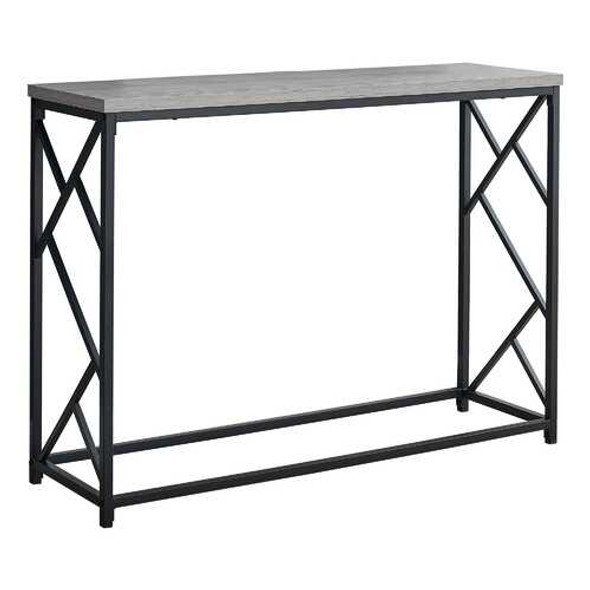 """44"""" Rectangular GreywithBlack Metal Hall Console Accent Table"""