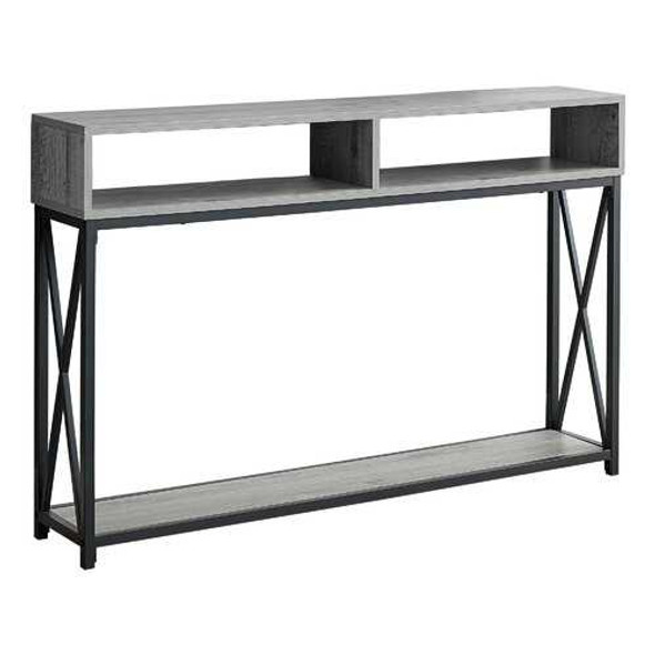 """48"""" Rectangular GreywithBlack Metal Hall Console with 2 Shelves Accent Table"""