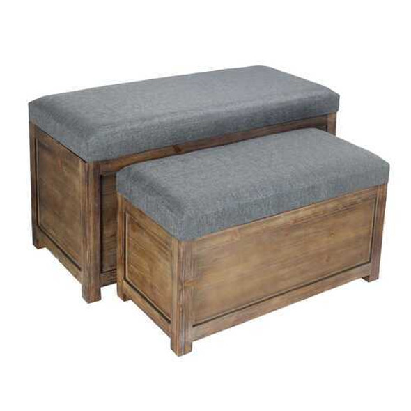 Set of 2 Rectangular Gray Linen Fabric and Wood Storage Benches