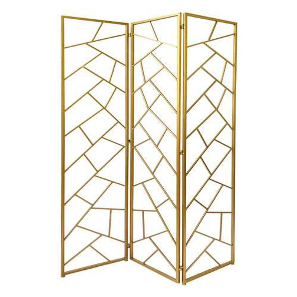 3 Panel Gold Room Divider with Geometric Motif
