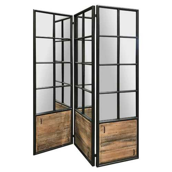 3 Panel Black and Brown Room Divider with an Optical Illusion