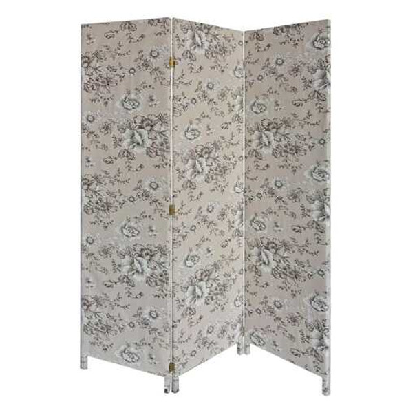 3 Panel Beige and Black Soft Fabric Finish Room Divider