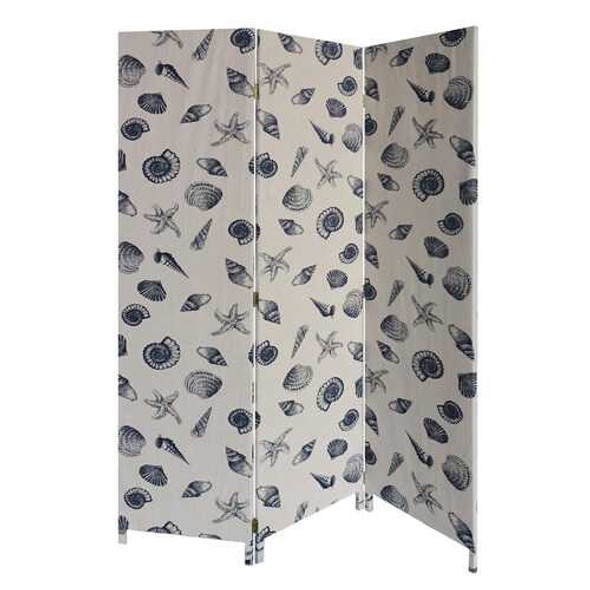 3 Panel Beige and Blue Soft Fabric Finish Room Divider
