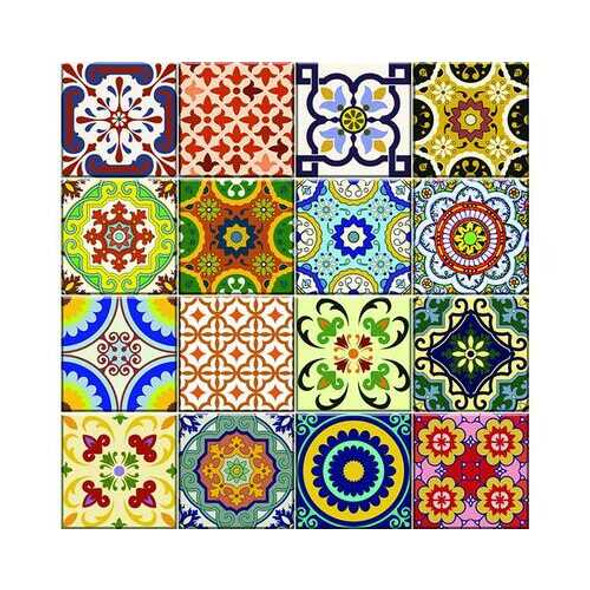 """6"""" x 6"""" Mediterranean Brights Mosaic Peel and Stick Removable Tiles"""