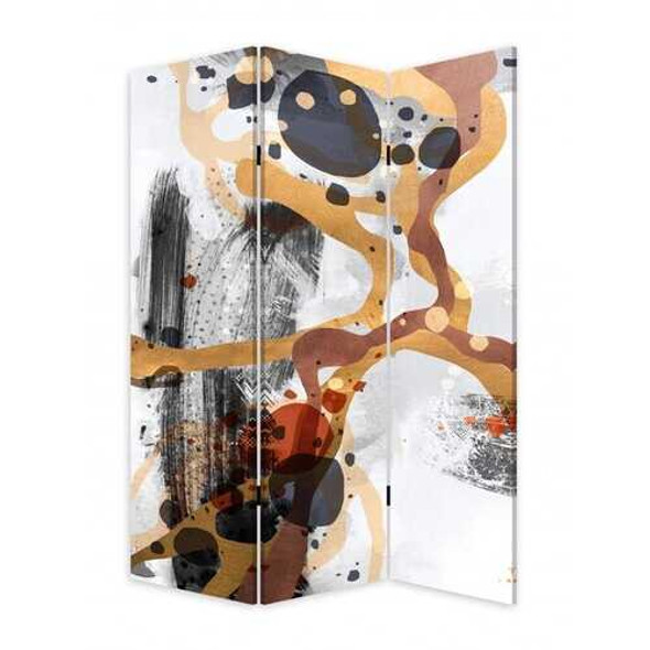 3 Panel Reversible Abstract Art Room Divider Screen
