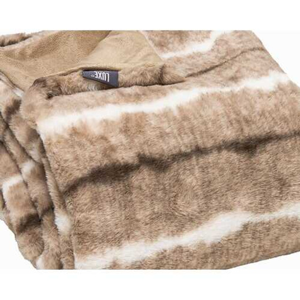 Premier Luxury Light Brown and White Faux Fur Throw Blanket