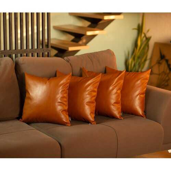 """Set of 4 Brown Faux Leather 17"""" Pillow Covers"""