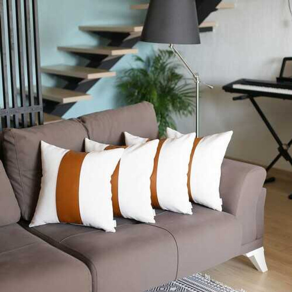 Set of 4 White and Center Brown Faux Leather Pillow Covers