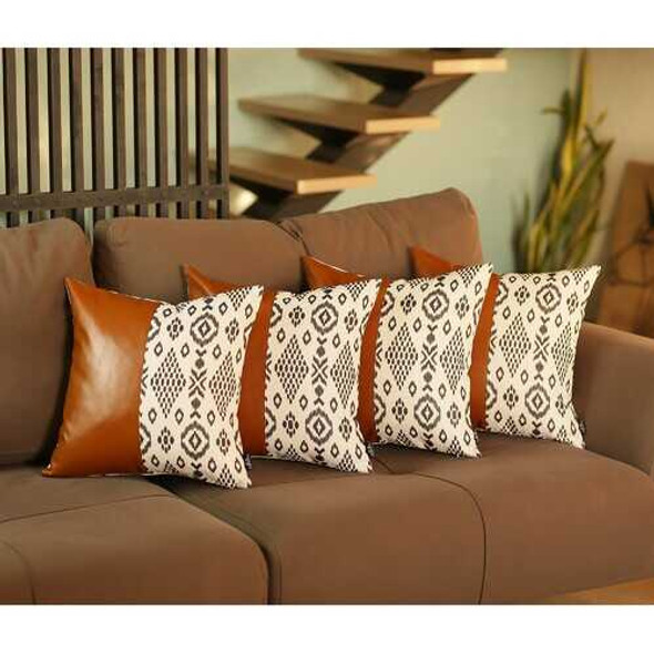 Set of 4 Black and White Tribal with Faux Leather Pillow Covers